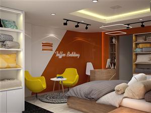 Thiết kế nội thất shop Toffee Bedding – Chăn, ga, gối cao cấp