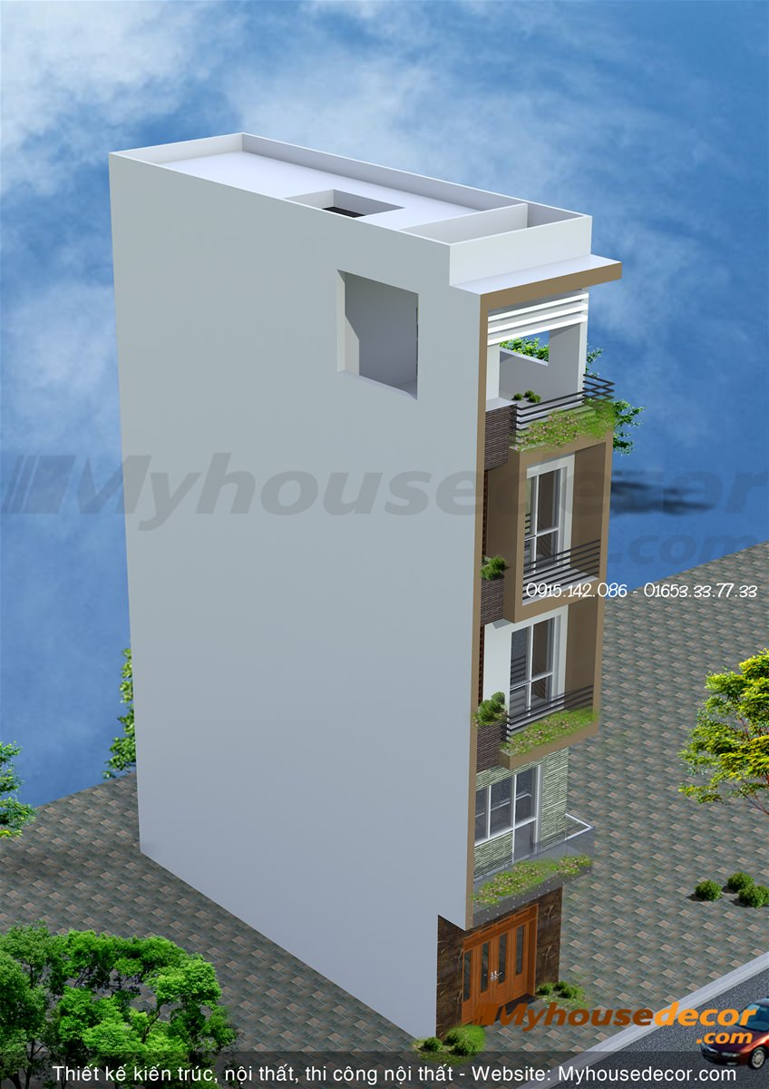 Bản vẽ phối cảnh thiết kế nhà phố số 9