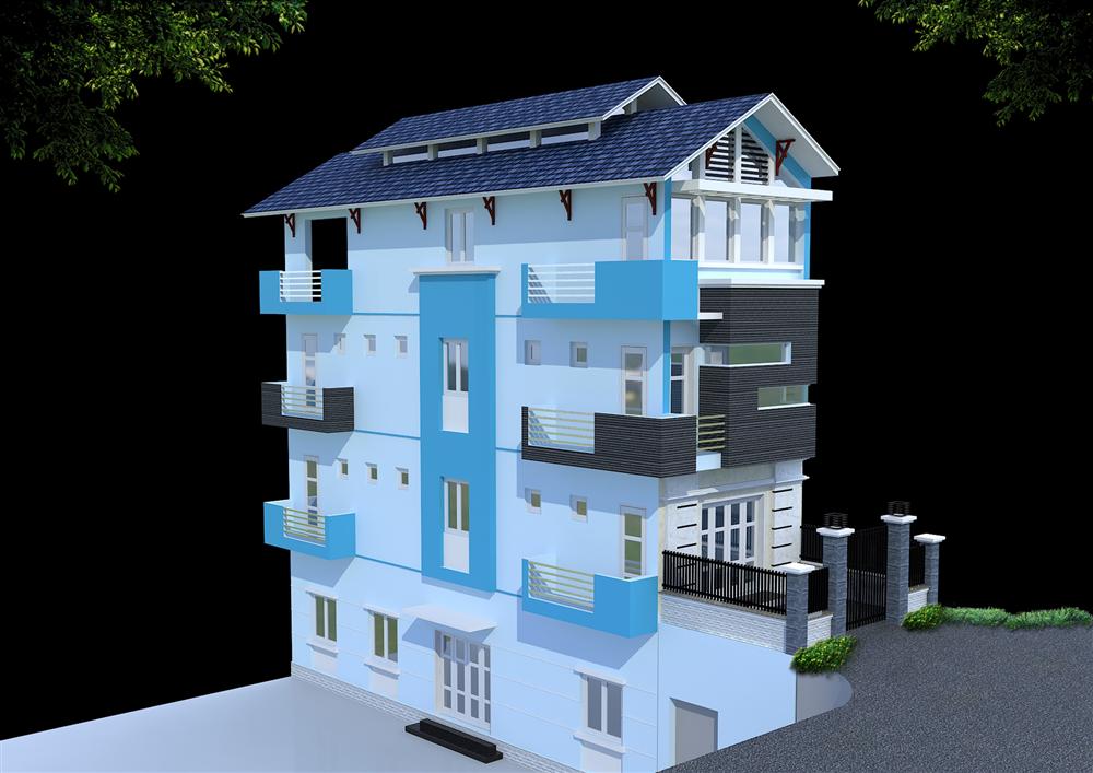 Kiến trúc nhà phố 2 mặt tiền hiện đại dưới sườn đê thuộc huyện Gia Lâm