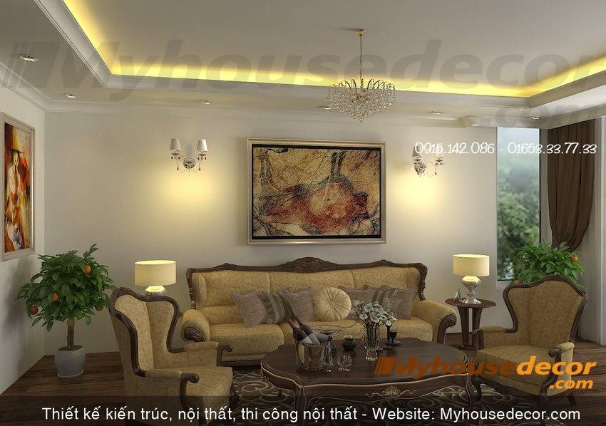 Phòng khách tầng 2 biệt thự cổ điển