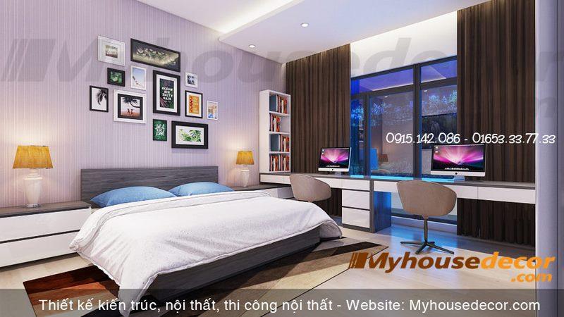 Thiết kế phòng ngủ gia chủ căn hộ the Manor Eco+ Lào Cai