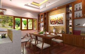 Nội thất phòng bếp và phòng ăn hiện đại với gỗ Xoan đào Nam phi