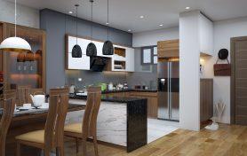 Phòng khách liên thông với không gian bếp