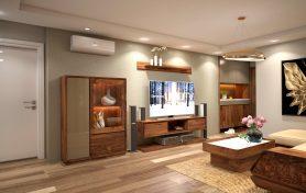 Thiết kế nội thất phòng khách sang trọng với gỗ óc chó
