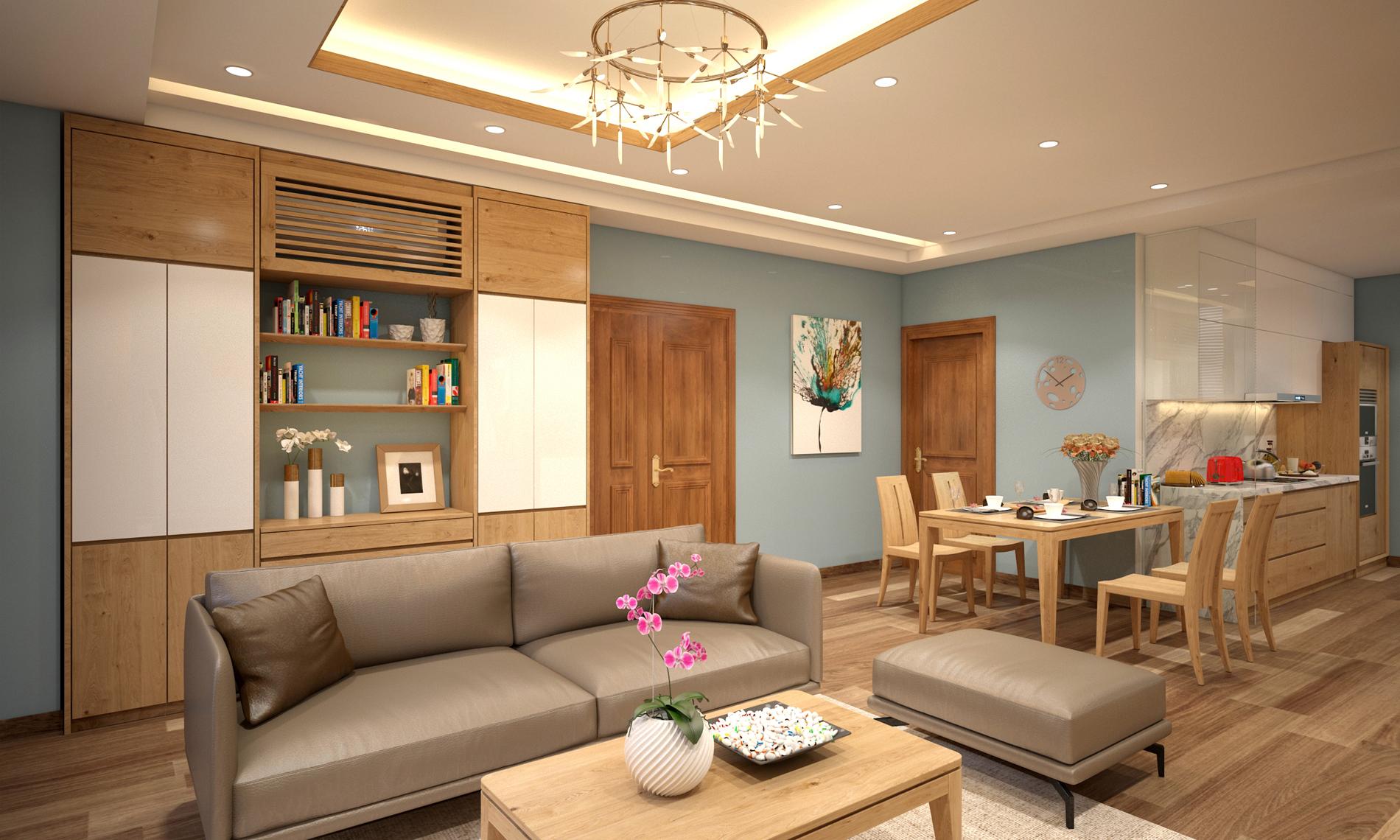 Nội thất gỗ sồi tự nhiên tuyệt đẹp và tiện nghi – Căn chung cư Tầng 7