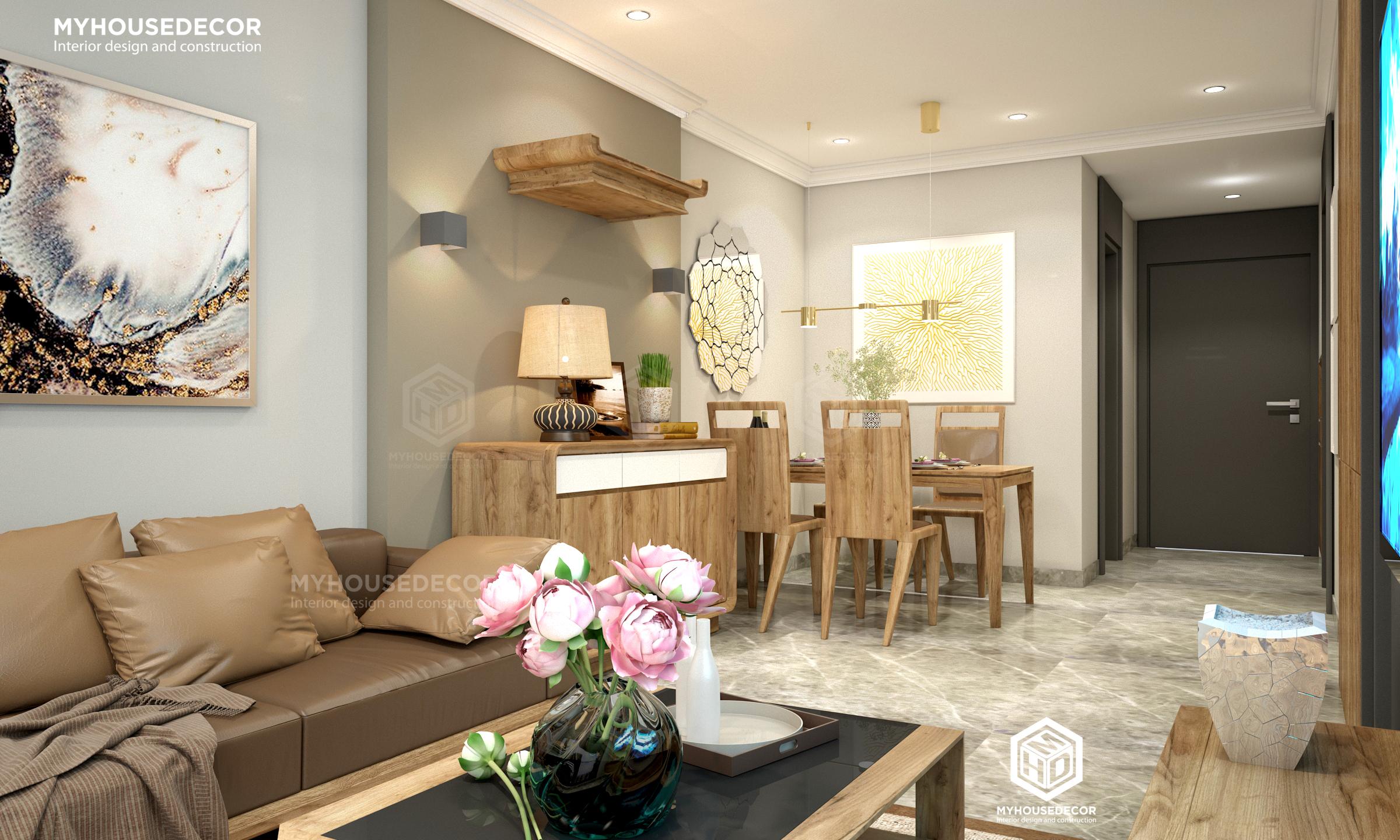 Nội thất chung cư cao cấp với gỗ sồi mỹ tự nhiên