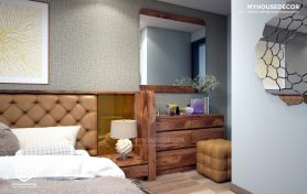 Thiết kế nội thất phòng ngủ Master với gỗ Óc chó tự nhiên